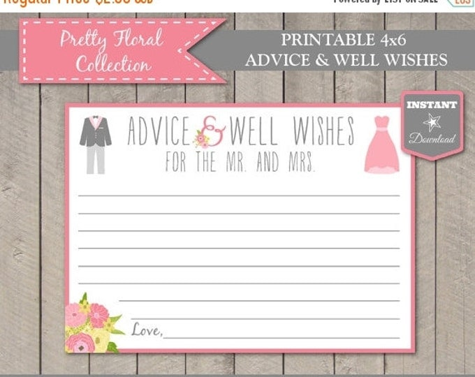SALE INSTANT DOWNLOAD Printable 5x7 Pretty Floral Advice and Well Wishes Cards / Mr. and Mrs. / Bridal Shower / Wedding Collection / Item #2