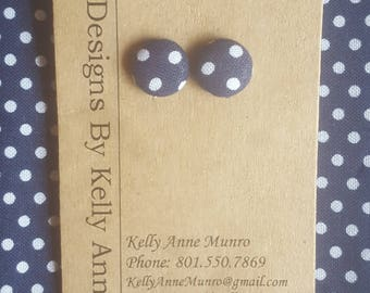 Earrings Button-  Navy Blue and White Polka Dots- Small 1/2 Inch
