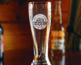 Hops Craft Beer Glass Engraved - Single Pilsner Glass