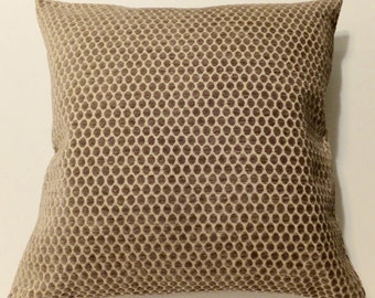 Taupe Swiss Dot Velvet Throw Pillow Cover 20 x 20 Handmade Designer January Finds Winter Trends For the Home Decor Gift Fresh Finds, Gifts
