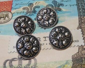 4 Silver Metal Della Robbia Buttons Pressed Design