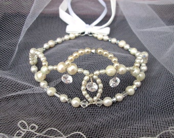 Bridal Crown white pearls cultured pearls, Bridal tiara white Cultured Pearls wedding Crown