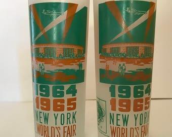 Vintage pair  1964 World's Fair Souvenir Turquoise and brown Hiball glasses (2)