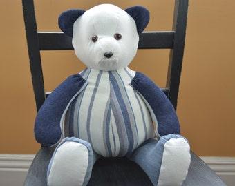 Patchwork Denim Teddy Bear... Blue and White Denim Teddy Bear For Boy Or Girl