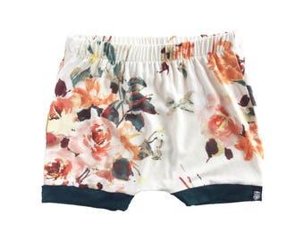baby harem shorts, baby shorts, toddler harem shorts, girls clothes,  Cream floral shorts