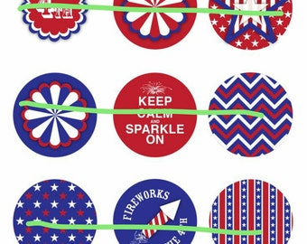 INSTANT DOWNLOAD* 4th Of July Bottlecap Images