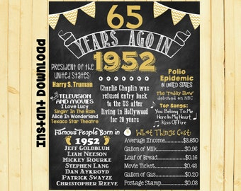 Gold 65th Birthday Chalkboard 1952 Poster 65 Years Ago in 1952 Born in 1952 65th Birthday Gift INSTANT DOWNLOAD