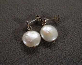 Vintage Art Deco Style Sterling Silver Mother of Pearl Round Dangle Pierced Earrings Jewelry -K#80