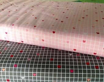 Pink Gray Hearts 1/2 Yard Fabric Set/Lovebug Grid Gray And Pink/Riley Blake/Love Bug/Gray Pink Heart Fabric/Doodlebug Designs
