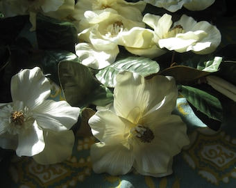 REDUCED by 10.00 Dollars, Vintage Magnolia Leaves and Flowers that were made in 1987, ready for your Flower Arrangement, Excellent Shape.