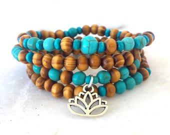 108 Mala wood bracelet or necklace, Turquoise bracelet, Mala bracelet, Lotus bracelet, Yoga bracelet, Meditation bracelet