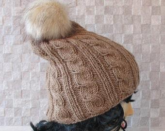 Vegan Fur Pom Pom Hat - Womens Knit Hat - Bobble Hat With Fur Pom Pom - Fox Fur Pompom Hat - Beige Bobble Hat - Fluffy Pom Pom Hat