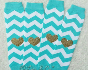 Baby Leg Warmers, Girls Leg Warmers, Turquoise Birthday Outfit, Mint Chevron Leg Warmers, Leggings, Toddler Leg Warmers, Liv & Co.™