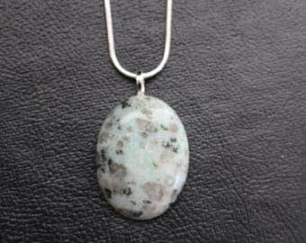 """24"""" Silver Chain with Stone Pendant"""