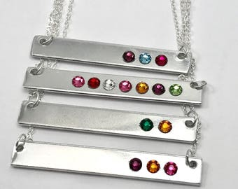 Birthstone Bar Necklace, Mothers Birthstone Necklace, Custom Mothers Birthstone Necklace, Horizontal Bar Necklace with birthstone Swarovski