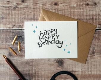 Happy Happy Birthday Letterpress Card