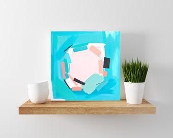 aqua abstract painting - modern art - modern minimal art - wood canvas - abstract art