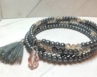Gunmetal Gray Pearl and Pink Crystal Wrap Bracelet with Tassel and Crystal Charm