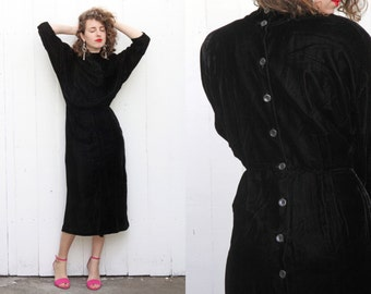 Vintage 70s Dress | 70s Black Velvet Midi Dress Holiday Party Mock Neck | Medium M