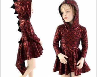 Long Sleeve Dragon Hooded Skater Dress w/Dragon Tail Hemline Girls Size 2T-12 Red Dragon Scale w Black Mystique Spikes & Hoodliner 153961