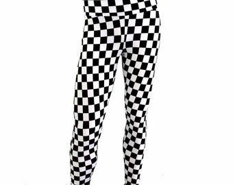Mens Leggings UV Glow Black & White Checkered Print Spandex Rockstar Rave Festival Yoga Meggings - 154466