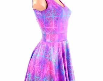 Northern Lights Cracked Tile Holographic Scoop Neck Sleeveless Fit and Flare Skater Skate Dress 154507