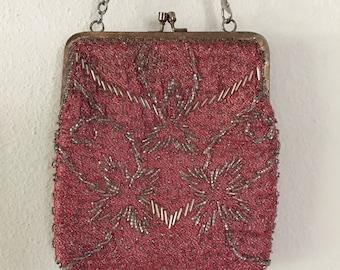 Vintage La Regale Handmade in Hong Kong Red Beaded Evening Clutch Handbag