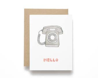 Retro Rotary Telephone - Hello Card