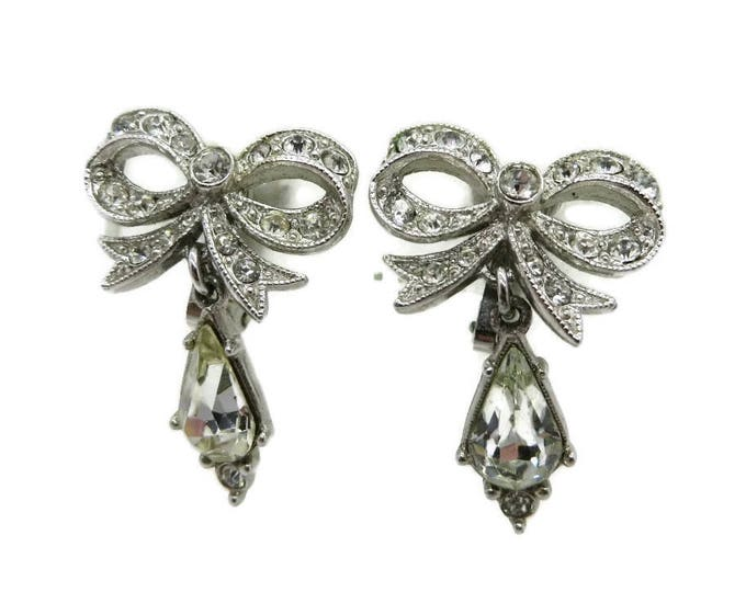 ORA Rhinestone Dangle Earrings, Vintage Estate Crystal Bow Clip on Earrings Signed Designer Bridal Jewelry