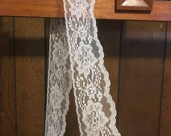 """PER YARD Lace Trim 3"""" wide or 5"""" wide. White Lace. Wedding Lace. Shabby Chic. Vintage lace. DIY projects. lace trim. 2 Types of Lace!!"""