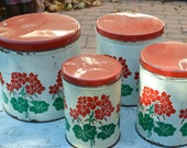 Red and White Canister Set Red Geraniums Vintage Kitchen Tin Canisters