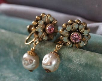 Japanese vintage baroque glass pearl with Swarovski vintage opal flower