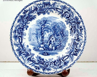 Vintage Booths Silicon China 'British Scenery' Made in  England Blue and White Transferware Lunch Plate Retro English Dinnerware