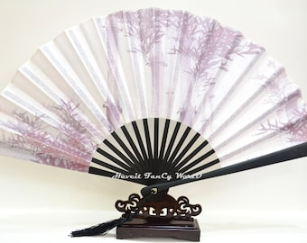 Hand Fan Traditional Fabric folding fan Bamboo Pattern Kimono Sensu