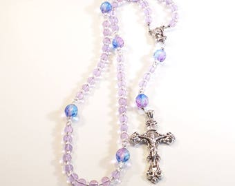 Lavender and Blue - Rosary Necklace Beaded Chain