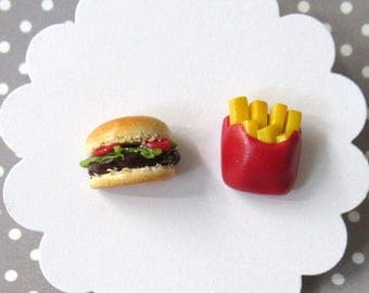 Hamburger Earrings, Burger and Fries, Mismatch Earrings, Food Earrings, Hypoallergenic, Cute Earrings, Miniature Food Jewelry
