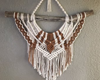 Two-Tone Macramé Wall Hanging on Naturally Stained Pine Branch
