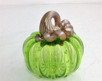 Hand Blown Small Green Glass Pumpkin