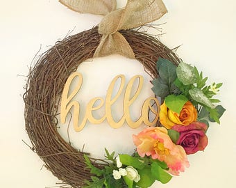Modern spring wreath, summer wreath, door wreath, welcome wreath, welcome sign, front door wreath, modern wreath