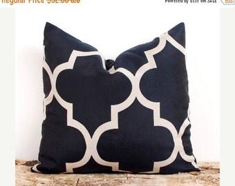 SALE ENDS SOON Two Navy Pillow Cover. 22 x 22 inch. Dark Blue Lattice Cover. Pillows. Home Decor Accents. Stripes. Quatr