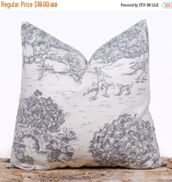 sale ends soon slate gray toile decorative pillow case toile. Black Bedroom Furniture Sets. Home Design Ideas