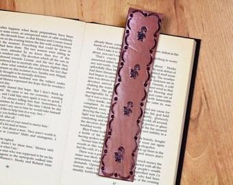Candy Cane Bookmark, Leather Bookmark, Sugar Cane Bookmark, Handmade Christmas Gift, Stocking Stuffer, Christmas Bookmark, Holiday Bookmark