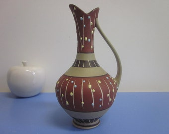 Marzi & Remy mid-century vase with graphic pattern 50s 60s