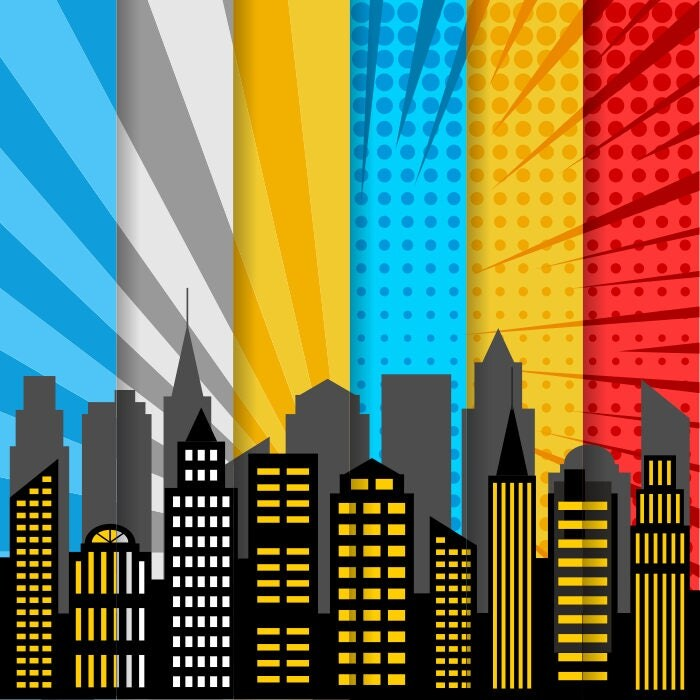 City Skyline Digital Paper, Superhero Digital Background ...
