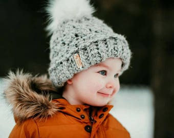 baby crochet toque | beanie | winter hat - grey marble | Matching mommy (or daddy!) and baby toques