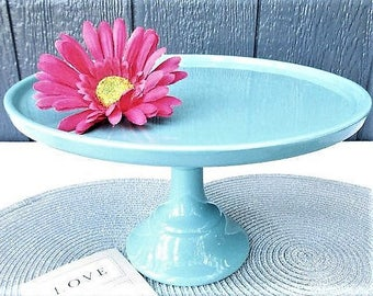 11 Inch Cake Stand/ Turquoise Tall Elegant Stand for Cake/Wedding Cake Stand/Teal Wedding/Birthday Cake Stand