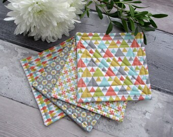 Quilted Fabric coasters, Geometric Coasters, Coaster Set, Set Of 4 Mini Quilts, Housewarming Gift, Gift For Her, Hostess Gift
