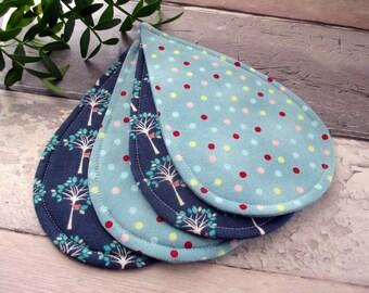 Raindrop Coasters, Fabric Coasters, Set Of 4 Coasters, Drink Coasters, Housewarming Gift, Hostess Gift, Blue Coasters, Fabric Gift