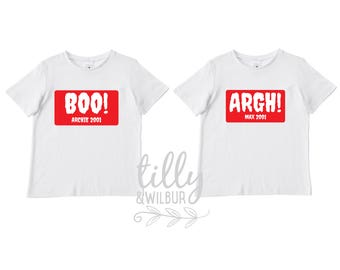 Halloween T-Shirt Set For Twins, Siblings, Pals, Boo! Argh! Personalised With Name And Year Or Your Own Requirements, Customized Halloween