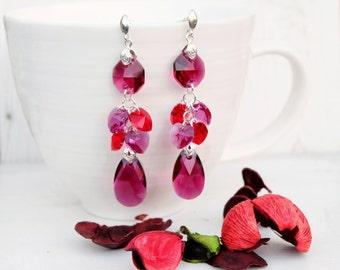 Long Fuchsia Red Swarovski Earrings-Long Evening Statement Crystal Earrings-Swarovski Crystal Jewellery-Long Dangle Red Silver Earrings